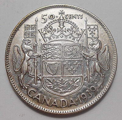 1939 Fifty Cents VF Nice BETTER Date LOW Mintage 3rd King George VI Canada Half