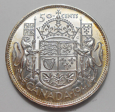 1941 Fifty Cents AU-UNC ** Beautiful HIGH Grade King George VI WWII Canada Half
