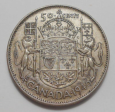 1946 Fifty Cents VF+ SCARCE Date LOW Mintage BETTER King George VI Canada Half