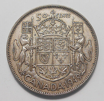 1949 Fifty Cents VF+ SCARCE Date LOW Mintage BETTER King George VI Canada Half