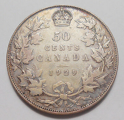 1929 Fifty Cents F Attractive BETTER Date LOW Mintage TONED George V Canada Half