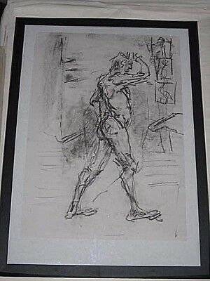 Figure life drawing nude expressive, charcoal / paper, man standing, A2 size @