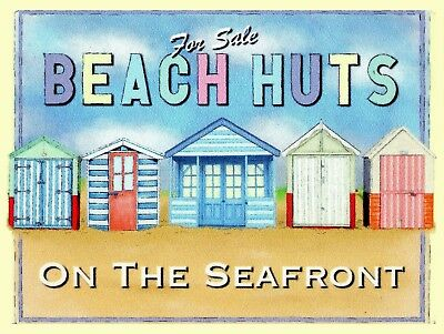 For Sale Beach Huts, Retro metal Sign/Plaque Wall vintage / Gift