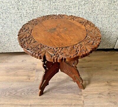 """Antique Indian/Asian Carved Wooden Inlaid Table- Folding Legs- Ornate- 15"""" High"""