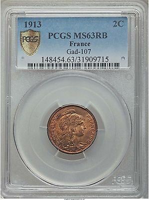 France 2 centimes 1913 PCGS MS63 RB undervalued coin