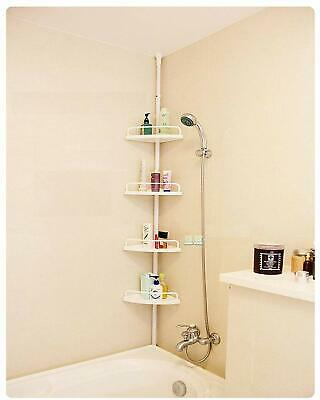 Keraiz Telescopic Shower Shelf Caddy Bathroom Corner Storage Unit White 4 Tier
