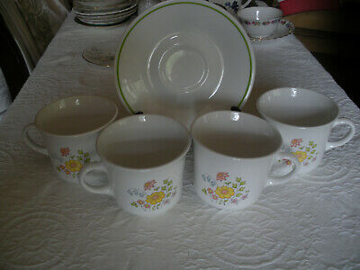 Corelle Spring MEADOW Vintage Set of 4 Coffee Tea Cups Mugs and 1 Saucer