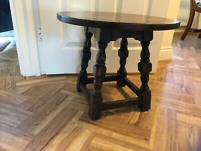 Webber dark solid oak round small coffee table side lamp tudor antique style