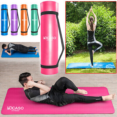 Yoga Mat for Pilates Gym Exercise Carry Strap 15mm Thick Large Comfortable NBR.