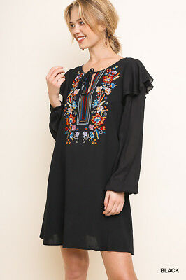 UMGEE Floral Embroidered Neckline Ruffle Sleeve Dress