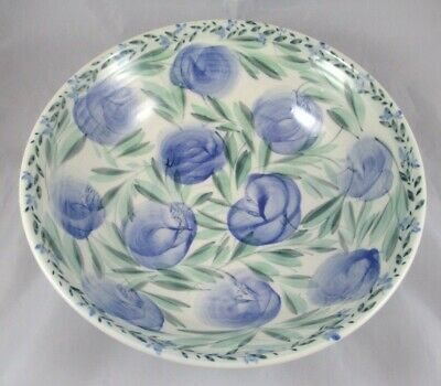 "Studio Art Pottery 13"" Hand Painted Bowl Blue Green White Artisan Signed"