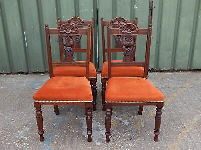 Set of 4x Edwardian mahogany carved dining chairs with fresh upholstered seats