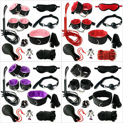 10pcs/Kit-Adult-Sex-SM-Toy-Handcuffs-Cuffs-Strap-Whip-Rope-Neck-Bandage 4 Colors