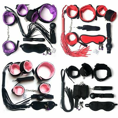 7pcs/set-Adult-Sex-SM-Toy-Handcuffs-Cuffs-Strap-Whip-Rope-Neck-Bandage-Sexy Kit
