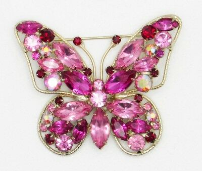Vintage Vivid Pink & Fuschia Prong Set Mixed Shapes Rhinetones Butterfly Brooch