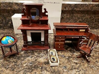 VICTORIAN  FIREPLACE MAHOGANY VINTAGE #WF037 DOLLHOUSE FURNITURE MINIATURES