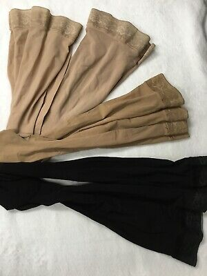 4pair Sigvaris 20-30 Black Nude Compression Stockings LL Silicone Closed Toe
