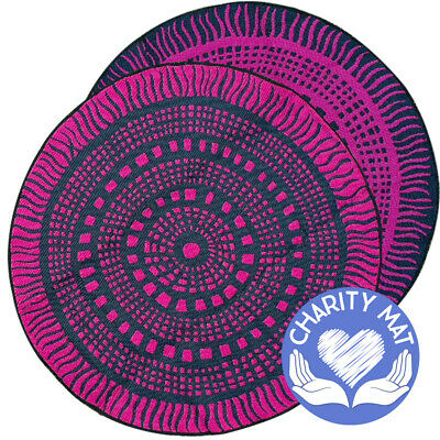 ABORIGINAL Charity Mat | Outdoor Rug | Recycled Plastic | 3m Round Plum & Black