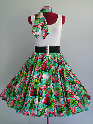 "ROCK N ROLL/ROCKABILLY ""Flamingos"" SKIRT & SCARF M-L Aqua/Pink."