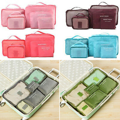 6Pcs Waterproof Travel Clothes Storage Bags Luggage Organizer Pouch Packing Cube