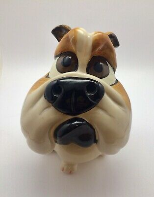 Funny Hand Painted Resin Sitting Dog Puppy Bulldog Coin Piggy Bank Figurine