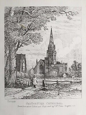 1851 Antique Print; Chichester Cathedral, Sussex after R.H. Nibbs