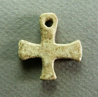 French Antique Religious Pendant Cross Lead Crucifix 5-7th century RARE