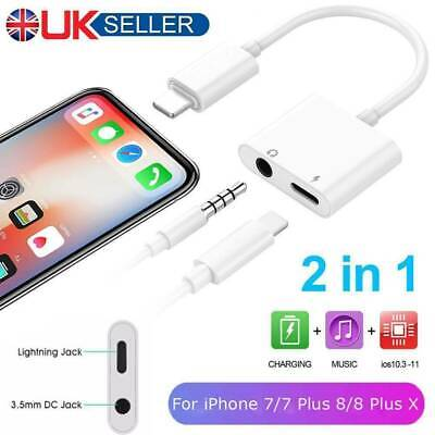 2 in1 Lightning to 3.5mm Aux Headphone Jack Charger Adapter For iPhone 7 8 X Lot