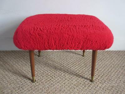 SUPER VINTAGE RETRO 60's/70's RED FLUFFY COVERED STOOL WITH DANSETTE LEGS