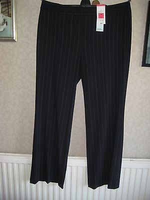 New Ladies Marks & Spencer Navy Pin Stripe trouser Straight Leg Size 18 Long