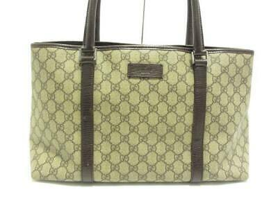 ded1044915b1 AUTH GUCCI GG 114595 Beige DarkBrown PVC Leather Tote Bag - $256.00 ...