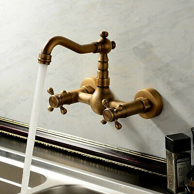 Wall Mounted Kitchen&Bathroom Faucet Double Cross Handles,Antique Brass Mix Tap1