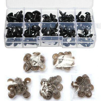 100X Plastic Safety Nose Black Triangle w/ Box For DIY Doll Soft Toy Making Tool