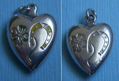 Vintage enamel lucky horseshoe clover puffy heart sterling charm