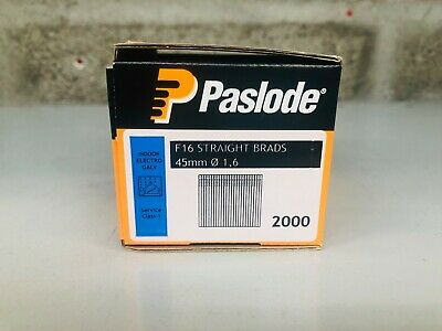 Paslode F16 Straight Brads 45mm Nails Indoor Electro Galvanised 1.6mm (2000)