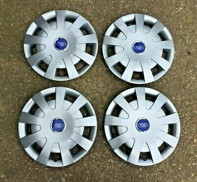 "4 x NEW BOXED FORD TRANSIT MK7 WHEEL TRIMS 16"" WHEEL HUB CAPS WITH LOGO 2007 >"