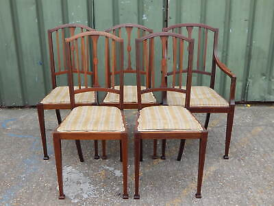Set of 4x antique Edwardian upholstered dining chairs plus matching carver chair