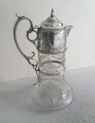 Victorian Ant. Solid Silver / Etched Glass Claret Jug.    Ht.26Cms.    Lon.1872.