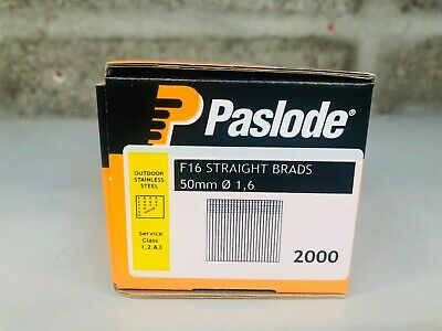 Paslode F16 Straight Brads 50mm Outdoor Stainless Steel 1.6mm Class 1 2 3 (2000)