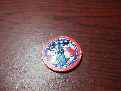 $5 Land of the Free - Home of the Brave Rio Suite Hotel & Casino Chip LTD 500