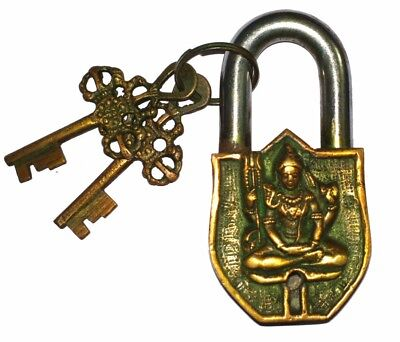 A Fantastic Brass made OM YOGA LORD SHIVA PADLOCK with 2 keys from India
