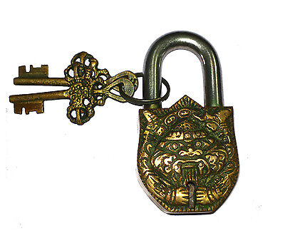 A Fantastic Brass made DEMON FACE designed PADLOCK with 2 keys from India