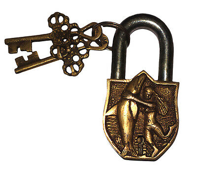 A Lovely Unusual Brass Made A Girl with a Fish Figure PADLOCK with 2 keys INDIA