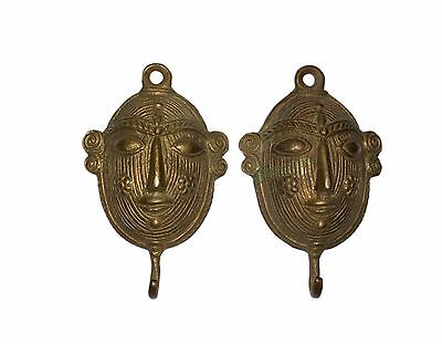 2 Attractive Vintage Brass made Unique 'A Tribal Woman Face' designed COAT HOOKS