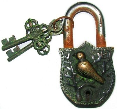 Bird Shape Antique  Vintage Style Handmade Brass Lock Padlock With Keys India