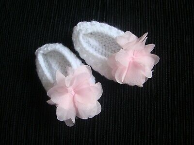 Baby clothes GIRL newborn 0-1m knitted bootees white, large pink rose SEE SHOP!