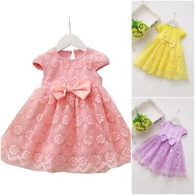 Flower Design Knee Length Baby Girls Mesh Dresses Short Sleeves Bow Kids Outfit