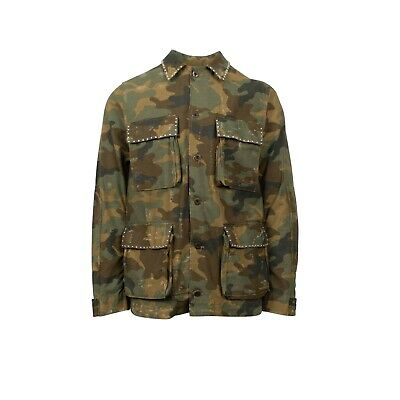 0d77f065eb23a New AMIRI Camo Distressed Studded Button Down Military Jacket Size M $1095