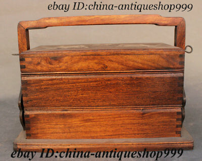 Antique Old China Huang Huali Wood Inlay Shell Kylin Carrying Cooked Cereals Box