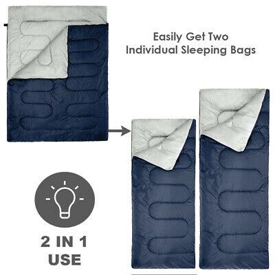 4 Season Double Sleeping Bag - King Size - Converts to 2 Singles -WaterProof
